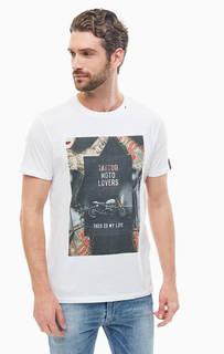 Белая хлопковая футболка с принтом Replay