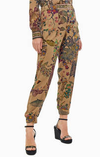 Брюки джоггеры с цветочным принтом и накладными карманами Desigual