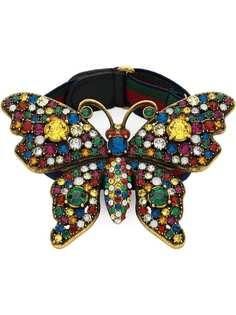 Gucci браслет с декором в виде бабочки с кристаллами