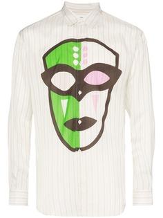 Comme Des Garçons Shirt полосатая рубашка с принтом маски и прорезью