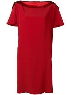 Gianluca Capannolo атласное платье трапеция с вырезом-лодочкой