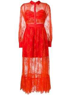Self-Portrait sheer lace ruffled dress