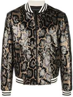 Garcons Infideles куртка-бомбер Collins с отделкой пайетками и леопардовым узором