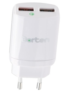 Зарядное устройство Dorten Dual USB Quick Charger QC 3.0 White DN204300