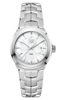 LINK Кварцевые женские часы с белым перламутровым циферблатом TAG Heuer