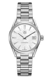 CARRERA Кварцевые женские часы с белым перламутровым циферблатом TAG Heuer