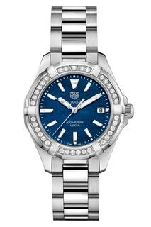 AQUARACER Кварцевые женские часы с синим перламутровым циферблатом Tag Heuer