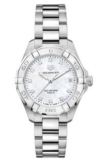 AQUARACER Кварцевые женские часы с циферблатом из перламутра и бриллиантов Tag Heuer