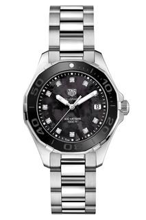 AQUARACER Кварцевые женские часы с циферблатом из черного перламутра Tag Heuer