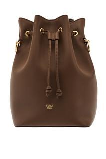 Коричневая кожаная сумка Mon Tresor Fendi