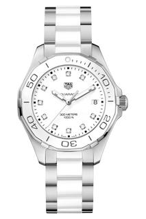AQUARACER Кварцевые женские часы с белым циферблатом Tag Heuer