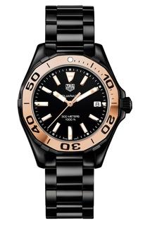 AQUARACER Кварцевые женские часы, черные с розовым золотом TAG Heuer