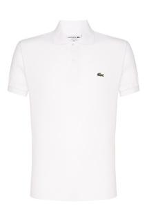 Белое поло с логотипом Lacoste
