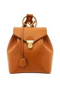 Светло-коричневый кожаный мини-рюкзак Fendi