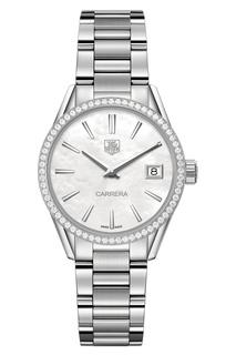 CARRERA Кварцевые женские часы из стали с бриллиантами Tag Heuer