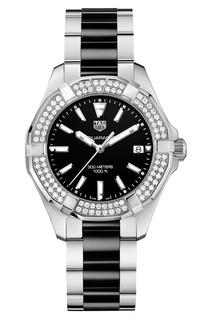 AQUARACER Кварцевые женские часы с черным циферблатом и бриллиантами Tag Heuer