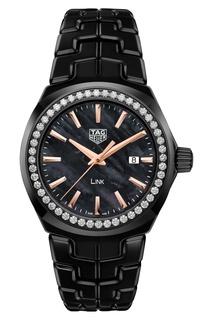 LINK Кварцевые женские часы с золотисто-черным циферблатом и бриллиантами Tag Heuer