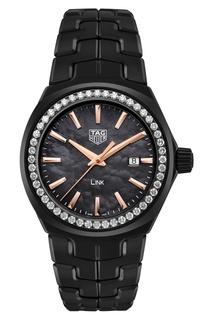 LINK Кварцевые женские часы с циферблатом из черного перламутра Tag Heuer