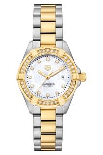 AQUARACER Кварцевые женские часы с золотом и бриллиантами TAG Heuer