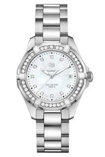 AQUARACER Кварцевые женские часы с белым перламутром и бриллиантами TAG Heuer