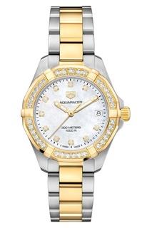 AQUARACER Кварцевые женские часы с отделкой золотом и бриллиантами Tag Heuer