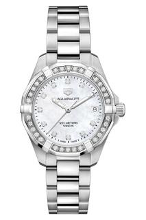 AQUARACER Кварцевые женские часы с перламутровым циферблатом и бриллиантами TAG Heuer