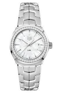 LINK Кварцевые женские часы с белым перламутром и бриллиантами TAG Heuer