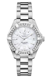 AQUARACER Кварцевые женские часы с бриллиантами и белым циферблатом Tag Heuer