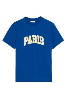 Синяя футболка с надписью Sandro