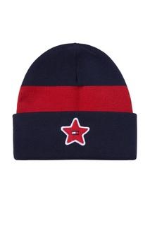 Контрастная шапка-бини с нашивкой Tommy Hilfiger Kids