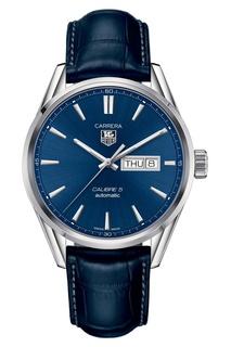 CARRERA Calibre 5 Day-Date Автоматические мужские часы с синим циферблатом TAG Heuer