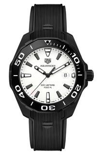 AQUARACER Черные кварцевые мужские часы с белым циферблатом Tag Heuer