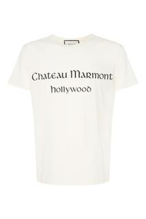 Белая футболка с надписью Gucci Man