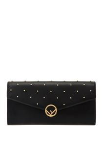 Черный кошелек с золотистым декором Fendi