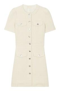 Белое твидовое платье мини Maje