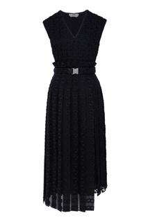 Черное платье из органзы с шитьем Fendi