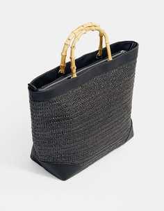 Плетеная сумка-шопер с ручками из бамбука Stradivarius