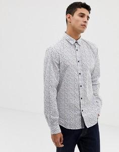 Белая узкая рубашка с мелким цветочным принтом Esprit - Белый