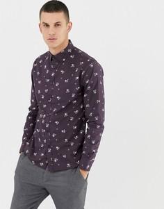 Фиолетовая рубашка зауженного кроя с мелким цветочным принтом Celio - Фиолетовый