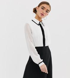 Монохромное платье-рубашка два в одном А-силуэта Paper Dolls Petite - Мульти