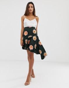Асимметричная юбка с цветочным принтом Love - Мульти