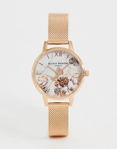 Часы с мраморным эффектом и цветочным рисунком Olivia Burton OB16CS06 - Золотой