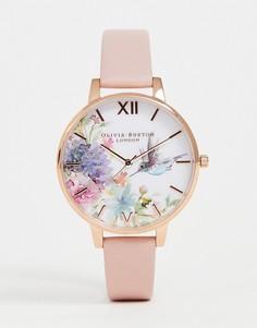Часы с розовым кожаным ремешком Olivia Burton OB16PP44 Painterly Prints - Розовый
