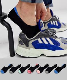 Набор черных невидимых носков с цветными вставками ASOS DESIGN - 7 пар - Мульти