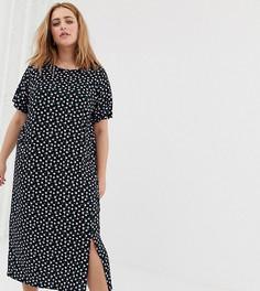 Платье-футболка миди с цветочным принтом и разрезом Daisy Street Plus - Черный