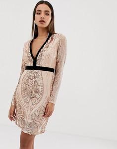Контрастное платье мини с пайетками Forever Unique - Золотой