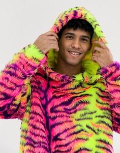 Фестивальный худи из искусственного меха с тигровым принтом Jaded London - Мульти