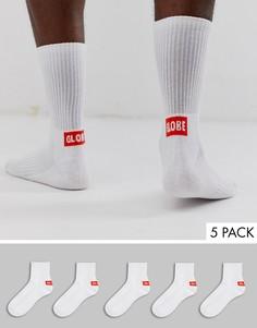Набор из 5 пар белых носков с логотипом Globe - Белый