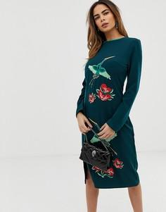 Платье миди с вышивкой птиц Liquorish - Зеленый