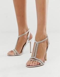 Босоножки серебристого цвета с отделкой на каблуке ALDO Dovyan - Серебряный